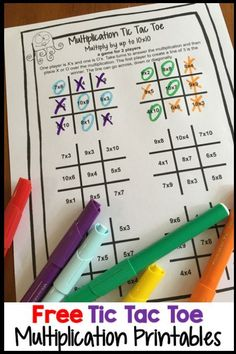FREE Multiplication Printables - Play Multiplication Tic Tac Toe with these free printables Math Fact Fluency, Teaching Multiplication, Teaching Math, Multiplication Strategies, Math Fractions, Teaching Ideas, Math For Kids, Fun Math, Math Activities