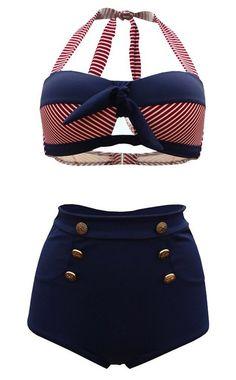 Cocoship Retro Navy Blue Short Red White Stripe High Waist Bikini Halter Swimwear Bathing Suit M(FBA) Bandeau Bikini, Haut Bikini, Bikini Vintage, Bikini Sets, Push Up Bikini, Retro Mode, Mode Vintage, Vintage Style, Chic Outfits