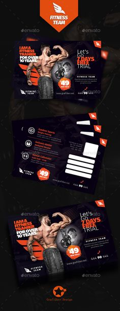 Fitness Time Postcard Templates  — PSD Template #regime #running • Download ➝ https://graphicriver.net/item/fitness-time-postcard-templates/18356066?ref=pxcr