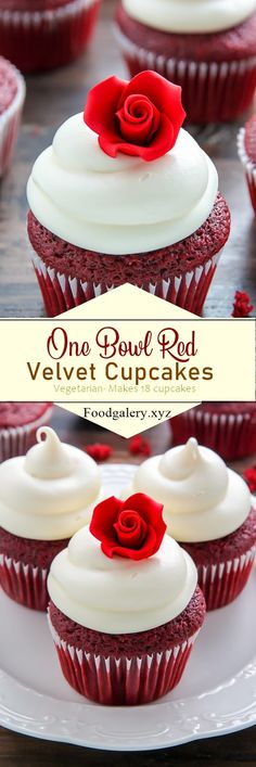 Bowl Red Velvet Cupcakes Supremely moist red velvet cupcakes topped with luscious cream cheese frosting - made in just ONE bowl!Supremely moist red velvet cupcakes topped with luscious cream cheese frosting - made in just ONE bowl! Frosting Recipes, Cupcake Recipes, Baking Recipes, Dessert Recipes, Gourmet Cupcakes, Icing Recipe, No Bake Desserts, Just Desserts, Delicious Desserts