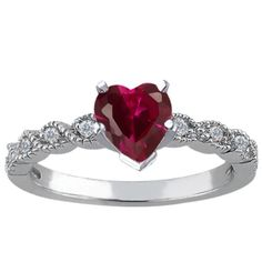 1.10 Ct Heart Shape Red Created Ruby White Diamond 14K White Gold Ring in Jewelry & Watches | eBay