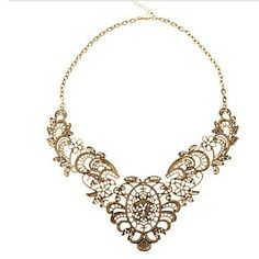 Miss U Mulheres Luxo Ouro Vintage Lace metal Colar curto feminino - BRL R$ 4,79