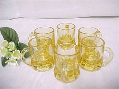 Perfect gift for the man cave, vintage amber colored shot glasses, in the shape…