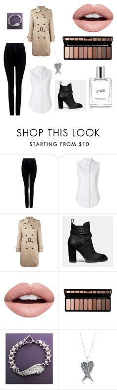 """""""Female Castiel / Angel Concept"""" by em-rose-cr ❤ liked on Polyvore featuring Citizens of Humanity, Thom Browne, MACKINTOSH, Coach, Nevermind, e.l.f., Freebird, La Preciosa and philosophy"""