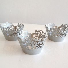 12 Silver Damask Shimmer Laser Cut Cupcake Wrappers 12 ct