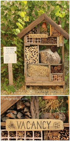 I have prepared a collection of 21 lovely DIY garden decor ideas that will really inspire you.Insect Hotel by Vintage with Laces decoration 21 Lovely DIY Garden Decor Ideas You Will Love Vintage Garden Decor, Diy Garden Decor, Garden Art, Garden Design, Diy Home Decor, Vintage Gardening, Bug Hotel, Backyard Landscaping, Landscaping Ideas
