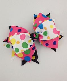 Pink & White Funky Dots Large Spike Bow Clip