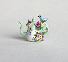 Miniature Blue Bird & Blossoms Display Teapot OOAK by C. Rohal