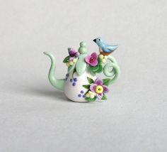 Miniature Blue Bird & Blossoms Display Teapot OOAK by C. Rohal
