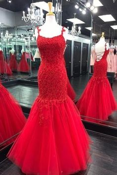 Charming Appliques Red Tulle Long Prom Dress, Open Back Mermaid Evening Gown T752 by sweetdressy, $166.50 USD Winter Formal Dresses, Formal Evening Dresses, Evening Gowns, Dress Formal, Formal Gowns, Elegant Dresses, Dress Long, Mermaid Evening Gown, Mermaid Prom Dresses