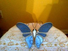 Vintage Blue Stained Glass butterfly sun catcher