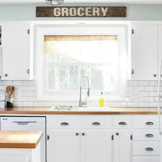 You won't believe the before of this kitchen? The cabinets were transformed from flat panels to shaker style! Click for full source list.