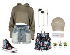 """Untitled #2304"" by doinacrazy ❤ liked on Polyvore featuring LE3NO, Converse, Disney, Kreafunk and Improvements"