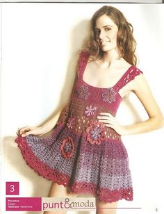 Crochetemoda: Crochet - Vestido Colorido ❤️LCD-MRS❤️ with diagrams.