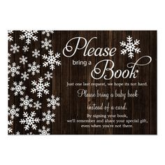 Rustic Wood Winter Baby Shower Bring a Book Card - rustic gifts ideas customize personalize Custom Baby Shower Invitations, Baby Shower Invitation Cards, Baby Shower Cards, Baby Shower Themes, Baby Shower Gifts, Shower Ideas, Babyshower Invites, Baby Shower Winter, Baby Winter