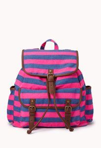 Day Trip Striped Backpack, hot pink & faux leather, Pack your bag. We're going on a day trip! Cute Backpacks For School, Cool Backpacks, Puppy Backpack, Backpack Purse, Canvas Backpack, Cute Purses, Purses And Bags, Lv Bags, Striped Backpack