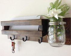 rustic mail organizer key rack with mason jar wall mail sorter and key holder