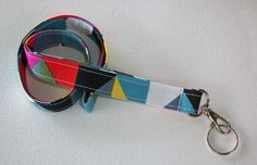 Lanyard  ID Badge Holder  Ziggy Triangles   Lobster by Laa766, $7.75   Great for teachers, coaches, nurses, and students. preppy / fabric /cute / patterns / key chain / keychain / girly / badge / key leash
