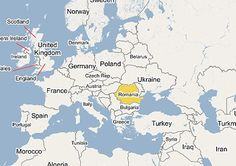 Europe map showing where Romania is located