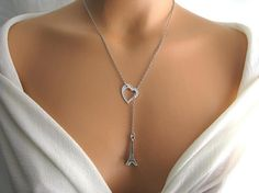 silver lariat necklace paris eiffel tower necklace by KriyaDesign, $25.00
