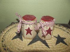 Primitive Crackle Ceramic Salt & Pepper Set ~ Burgundy Stars ~ Country Decor #NaivePrimitive