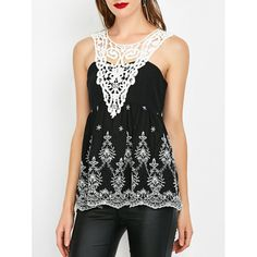 Crochet Trim Shirred Sleeveless Blouse, WHITE/BLACK, M in Blouses | DressLily.com