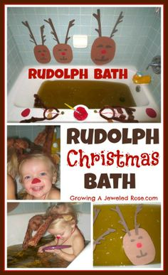 Make special Christmas memories and cherished photo keepsakes with a Rudolph Christmas Bath! Cute, simple ,and SO FUN for the kids!- hold up, who shit in the Christmas bath? Rudolph Christmas, Preschool Christmas, Christmas Activities, Christmas Traditions, Christmas Themes, Winter Christmas, Winter Holidays, All Things Christmas, Holiday Crafts
