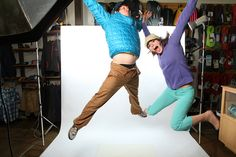 Patagonia Jumping! He is wearing a Nano Puff Pullover with PrAna Sutra Pants. The lady is jumping in a Better Sweater Jacket and All Out Capris.   www.rockcreek.com/patagonia #Patagonia #Prana #rockcreek