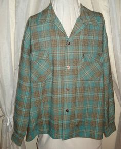 Mouse over image to zoom    Have one to sell? Sell it yourself  Vintage 50's Wool Aqua Blue Plaid Mens Don Manley Hunting Rockabilly Shirt XL