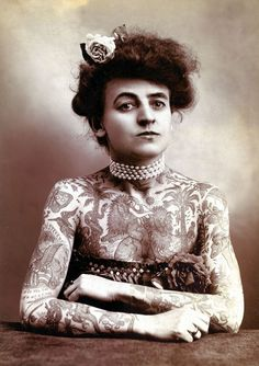 Mrs. M. Stevens Wagner, half length., facing slightly right, arms and chest covered with tattoos.    Los Angeles, Cal. : The Plaza Gallery, c.1907    Library of Congress, Prints and Photographs Division. (pinned by haw-creek.com)