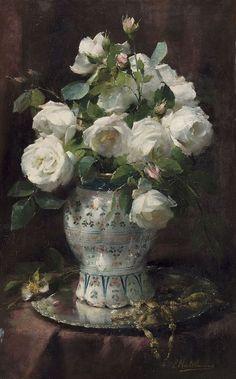 Frans Mortelmans (Belgian, 1865-1936), Roses blanches. Oil on copper