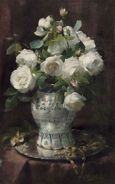 Frans Mortelmans (Belgian, 1865-1936), Roses blanches. Oil on copper