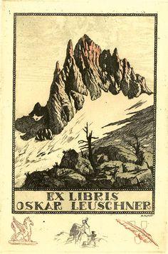 Bookplate by Adolf Kunst for Oskar Leuschner