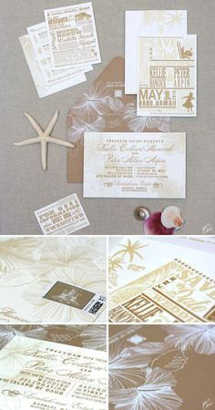 Vintage Hawaiian letterpress invites. I want to do something like this! (But ours is in fall, so probably a little different.)