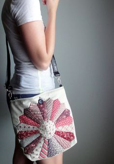 Upcycled Crossbody Bag Vintage Quilt Top Hip Bag by betsyandbess