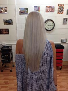 Platinum ash blonde. Grey white blonde. Long straight hair created by Emma Knuth