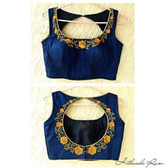 New Saree Blouse Designs, Netted Blouse Designs, Simple Blouse Designs, Stylish Blouse Design, Designer Blouse Patterns, Blouse Desings, Royal Blue, Maggam Works, Neckline