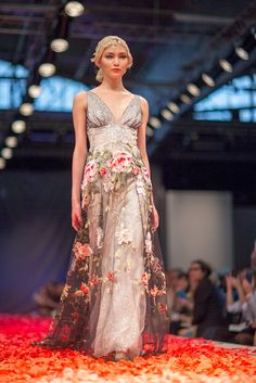 Claire Pettibone 'Raven' wedding dress, Still Life Collection, 2014 Fashion Show, Bridal Market Photo: Daniel Dorsa featured on Style Me Pretty