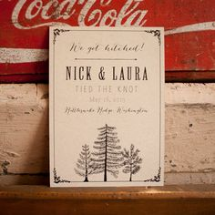 Tree Wedding Announcement, Rustic Wedding Announcement - The Larch - Eco, trees…