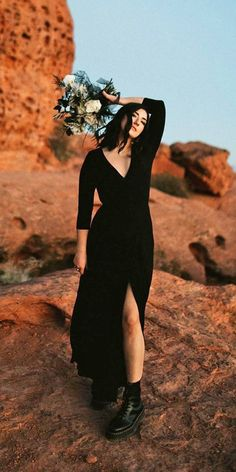 24 Black Wedding Dresses With Edgy Elegance ❤ black wedding dresses with long sleeves simple v neckline mareemiragliaphotography #weddingforward #wedding #bride Wedding Dress Chiffon, Country Wedding Dresses, Black Wedding Dresses, Bridal Dresses, Petite Bride, Vintage Inspired Dresses, Bodycon Dress Parties, Wedding Dress Shopping, Bridal Shoot