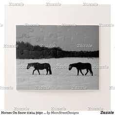 Horses On Snow 11x14 30pc jpcn Jigsaw Puzzle Make Your Own Puzzle, Custom Gift Boxes, Puzzles For Kids, Sticker Shop, Landscape Photographers, Big Picture, Winter White, High Quality Images, Jigsaw Puzzles