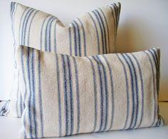 Grain Sack Pillow Cover Blue Farmhouse Pillow Blue Cottage Pillow French Grain Sack BOTH SIDES by linenandoak on Etsy https://www.etsy.com/listing/293859907/grain-sack-pillow-cover-blue-farmhouse