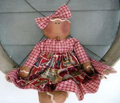 Primitive Gingerbread doll prim raggedy ginger