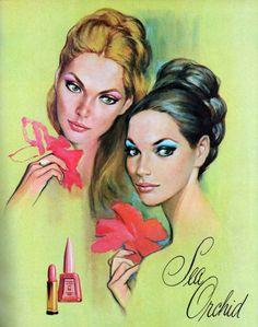 """Elizabeth Arden """"Sea Orchid"""" cosmetics ad, 1966"""