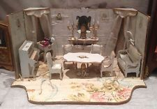 Antique Gottschalk French Miniature Dollhouse blue Parlor Furnishings Roombox