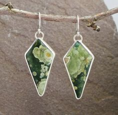 Rainforest jasper & Sterling Silver Earrings by UrsaMetals on Etsy