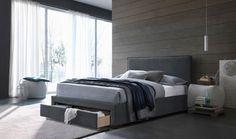 LESLEY Pat tapitat, sertar si somiera incluse Bed, Modern, Furniture, Home Decor, Trendy Tree, Stream Bed, Interior Design, Home Interior Design, Beds
