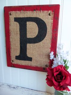 Burlap Monogram P or you choose letter red by OldAndNewShoppe