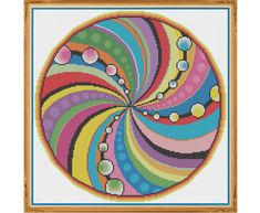 Mandala 8 - Consciousness - Counted Cross Stitch Pattern by HornswoggleStore, $5.00 (geometric, colorful, yoga, zen, modern, abstract, medallion)