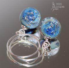 "Set ""The galactic zone Nibelungen"". Комплект ""Галактическая зона Нибелунгов"". Handmade glass, sterling silver."